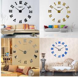 Large Roman Mirror Modern Quartz Clocks Sticker For Living R