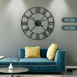Large Roman Numeral Round Wall Clock Metal Indoor Outdoor Vi
