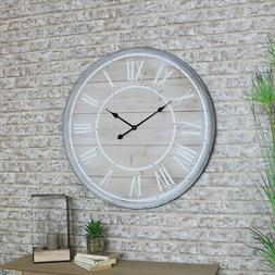 Large rustic wooden wall clock Roman numeral living room kit