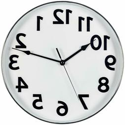 Bernhard Products Large Silver and White Wall Clock, 12-Inch