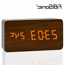 FIBISonic® Large Size Wooden Alarm Clocks With Thermometer