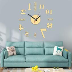 Large Wall Clock 3D Sticker Roman Numeral Mirror Watch DIY W