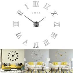 large wall clock 3d sticker roman numeral