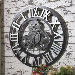 Large Wall Clock Antique 3D Gear Retro Roman Numerals Silent