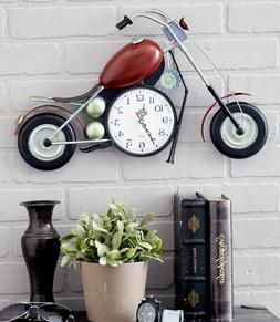 Large Wall Clock Motorcycle Sculpture Hanging Art Red Black