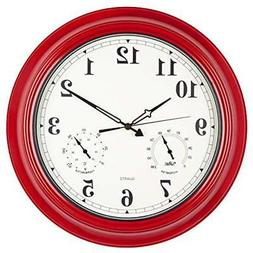Large Waterproof Outdoor Clocks Clock, 18 Inch Wall Thermome