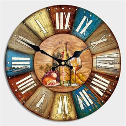 Large Wooden Vintage Clock Retro Hang On Wall Watch For Cafe