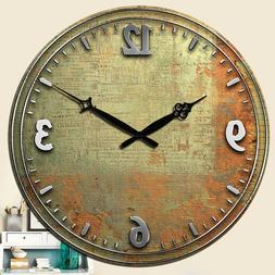 Large Wooden Wall Clock Room Home Decor Silent Retro Clock A