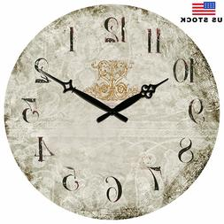 Large Wooden Wall Clocks Room Home Silent Decor Retro Clock