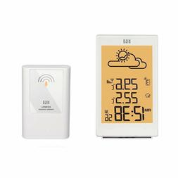 HITO LCD ALARM CLOCK WEATHER CLOCK WITH THERMAL SENSOR WHITE