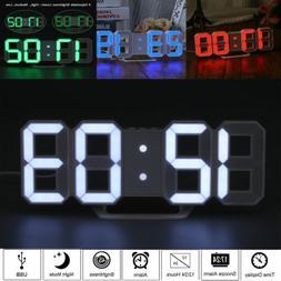 LED Digital 3D Table Desk Wall Clock Alarm 24/12Hr Display U
