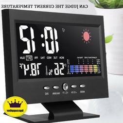 LED Digital Alarm Clock Snooze Calendar Thermometer Hygromet