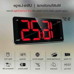 "LED Digital Alarm Clock with USB, 9""Large Display Clock wi"