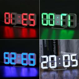 LED Digital Numbers Wall Clock 3D Brightness Alarm Snooze Ti
