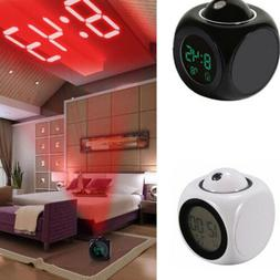 LED Digital Projection Alarm Clock Voice Talking Time for Be
