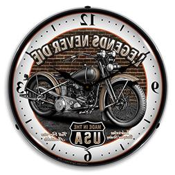 Legends Never Die Motorcyle Bike Lighted Wall Clock