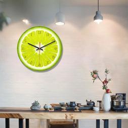 LEMON FRUIT CLOCK 11inch Round Wall Clock Home Cafe Kitchen