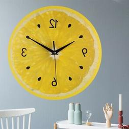 Lemon Fruit Wall Clock Lime Modern Kitchen Clocks Home Decor