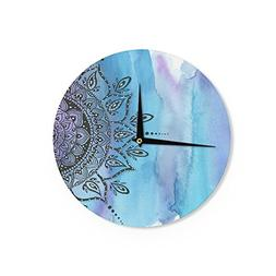 Kess InHouse Li Zamperini Blue Mandala Aqua Black Wall Clock