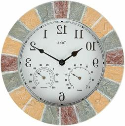 Lily's Home Hanging Wall Clock, Includes a Thermometer and H