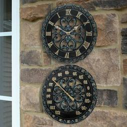 Lily's Home Hanging Verdigris Wall Clock and Dial Thermomete