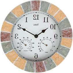 Lily's Home 10-Inch Faux-Stone Indoor or Outdoor Wall Clock