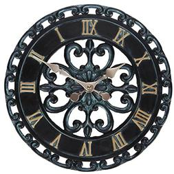 Lily's Home Hanging Verdigris Wall Clock, Ideal for Indoor o