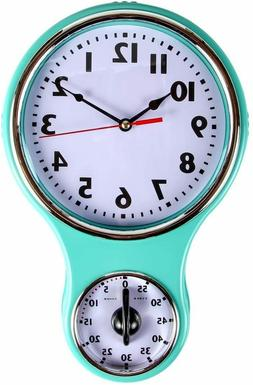 Lily's Home Retro Kitchen Timer Wall Clock, Bell Shape - Tur