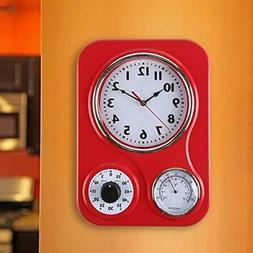Lily's Home Retro Kitchen Wall Clock, with a Thermometer and