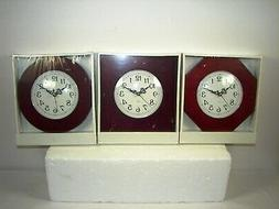 Lot of 3 Wood Tone Quartz Small Wall Clocks ~ New