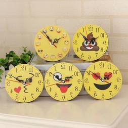 Lovely Emoji Bracket Clock Funny Expression Home Bedroom Off