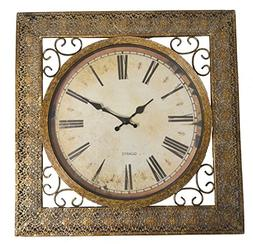 """Lulu Decor, Square Antique Metal Wall Clock, Size 16.50"""", Re"""