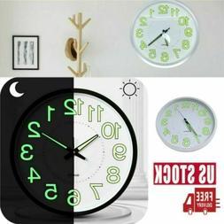 Luminous Glow 12 Inch Wall Clock Silent Large Quartz Bedroom