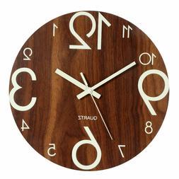 """Luminous Wall Clock 12"""" Wooden Silent Non Ticking Kitchen Cl"""