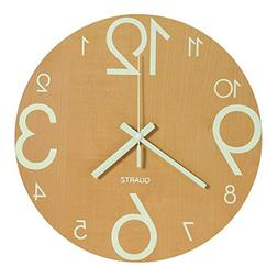 Genbaly Luminous Wall Clock, 12 inch Wooden Silent Non-Ticki