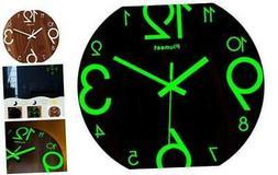 Luminous Wall Clocks - 12'' Non-Ticking Silent Wooden Clock