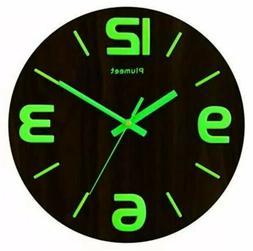 Plumeet Luminous Wall Clocks - 12'' Non-Ticking Silent Woode