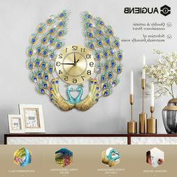 AUGIENB Luxury European Style Art Wall Clock 12H Peacock For