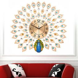 Luxury Peacock Large Metal Wall Clocks Living Room Wall Watc