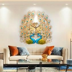 Luxury Peacock Large Wall Clock 3D Metal Living Room Wall Wa
