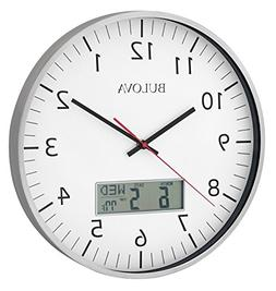 Bulova C4810 Manager Wall Clock, Silver