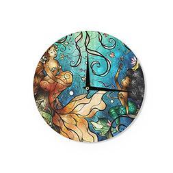 Kess InHouse Mandie Manzano Under The Sea Mermaids Wall Cloc