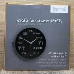 "Bernhard Products Mathematical Wall Clock 12"" Black Silent"