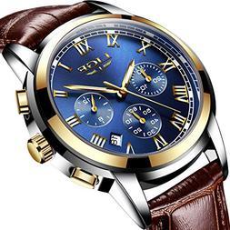 Mens Watches Leahter Analog Quartz Watch Men Date Business D