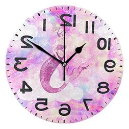 Naanle Beautiful Mermaid Print Round Wall Clock, 9.5 Inch Ba