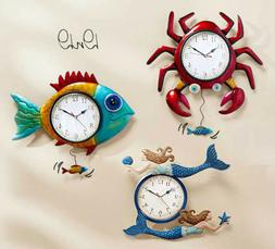 Metal Sealife Wall Clock Crab Fish or Mermaid Vibrant Colorf
