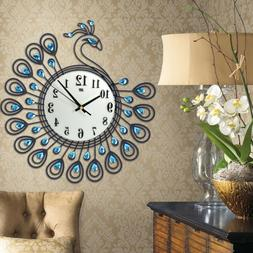 Metal Vintage Style Peacock Antique Wall Clock Home Kitchen