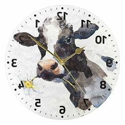 ALAZA Milk Cow with Daisy Flower Decorative Wall Clocks Batt