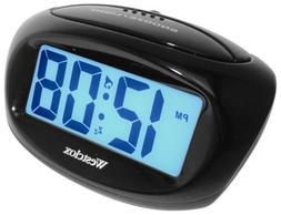 Westclox Mini Digital Alarm Clock Large LCD Display Blue Bac