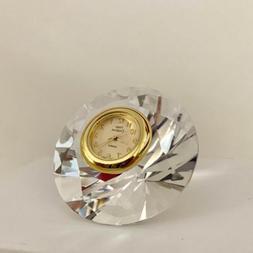 Miniature Crystal Diamond Clock Hand Crafted Vintage Shelf D